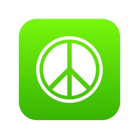 Sign hippie peace icon digital green