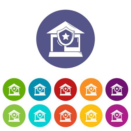House protection icons set vector color