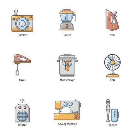 Domestic place icons set, cartoon style