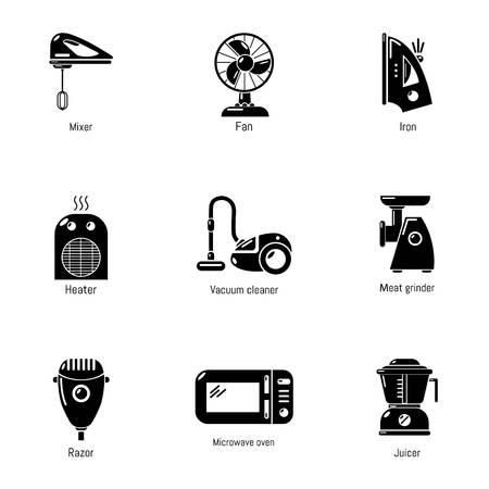 Housekeeping icons set, simple style