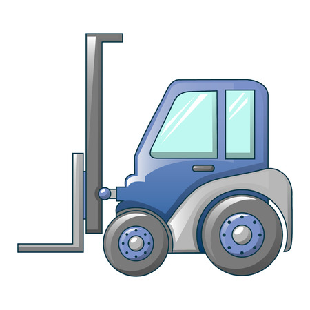 Forklift tractor icon, cartoon style