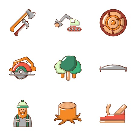 Woodcutter icons set, cartoon style Illustration