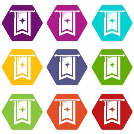 Icônes de drapeau chevalier 9 set coloful isolé sur blanc pour le web