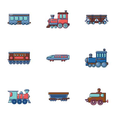 Carriage icons set. Cartoon set of 9 carriage vector icons for web isolated on white background