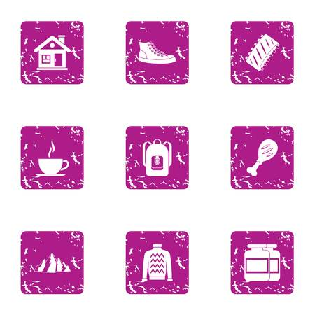Cozy evening icons set. Grunge set of 9 cozy evening vector icons for web isolated on white background