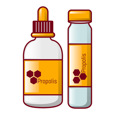 Propolis bottle icon, cartoon style
