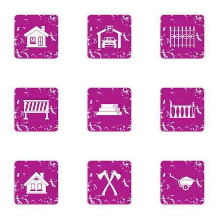 Industrial work icons set, grunge style Illustration