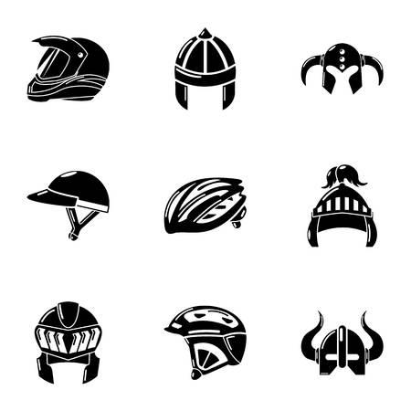 Headdress icons set, simple style