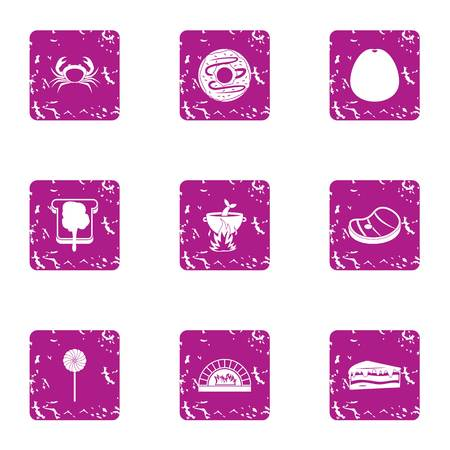 Nutritious dinner icons set, grunge style
