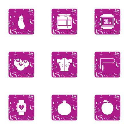 Heart measurement icons set, grunge style