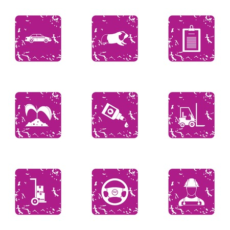 Industrial cultivation icons set, grunge style