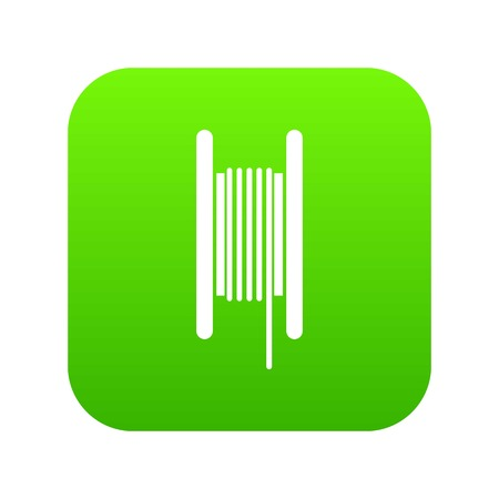 Electric cable in coil icon digital green