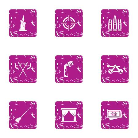 Medieval theatre icons set, grunge style Illustration