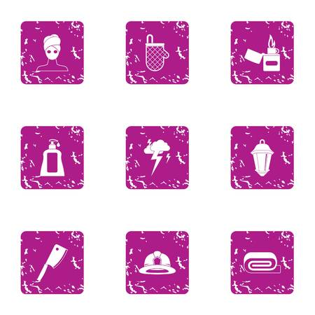 Harvesting cream icons set, grunge style Illustration