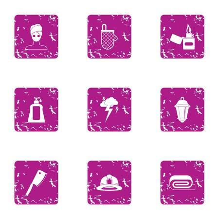 Harvesting cream icons set, grunge style Illustration