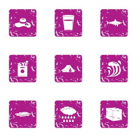 Kust geplaatste pictogrammen, grungestijl