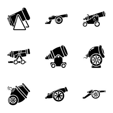 Cannon icons set, simple style