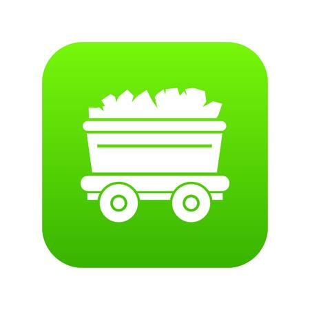 Mine cart icon, simple style Vectores