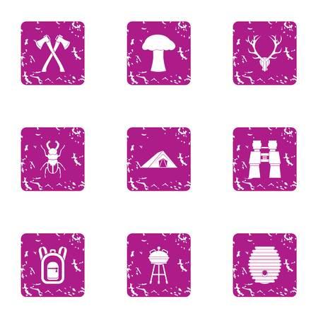 Worldwide icons set, grunge style