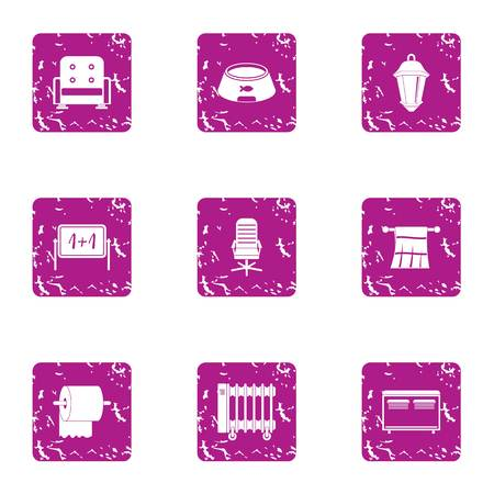 Private icons set, grunge style