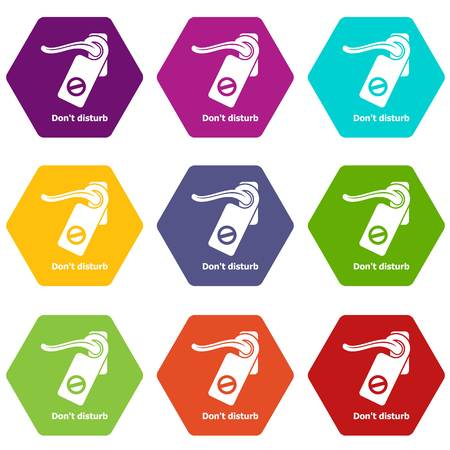 Do not disturb icons 9 set coloful isolated on white for web