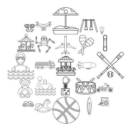 School adventures icons set, outline style