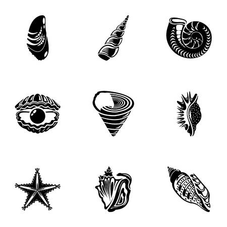 Shell icons set, simple style