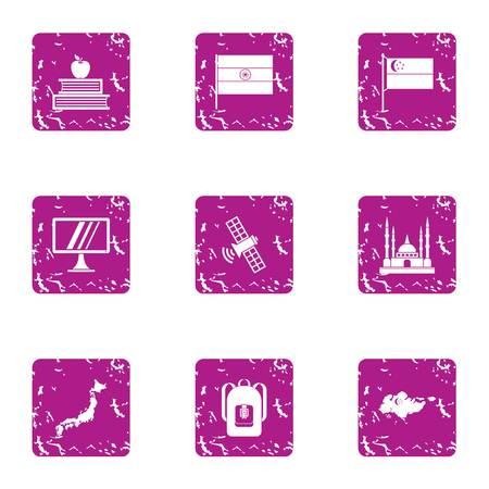 Study of eastbound icons set, grunge style Illustration