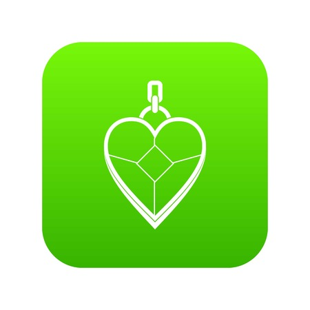 Heart shaped pendant icon digital green