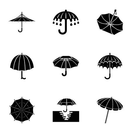 Umbrella icons set, simple style