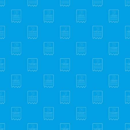 Parking ticket pattern vector seamless blue