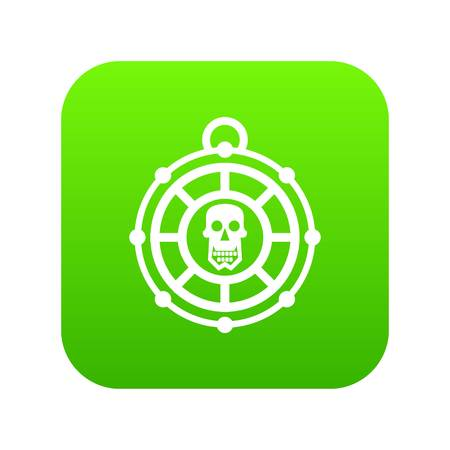 Pirate amulet icon digital green 向量圖像