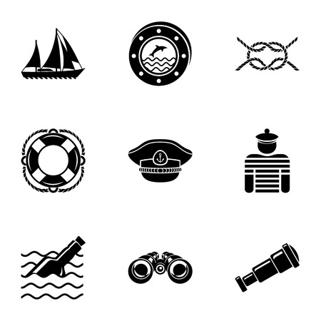 Work at sea icons set, simple style Stock Illustratie