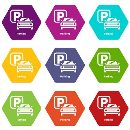 Parking icons set 9 vector Фото со стока