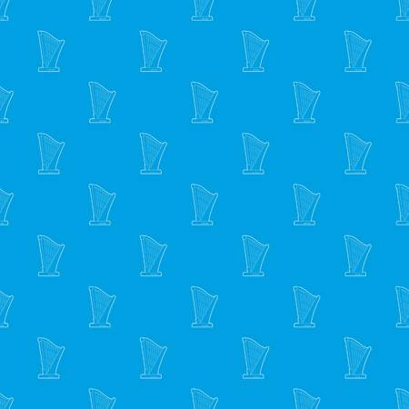 Harp pattern vector seamless blue repeat for any use Illustration