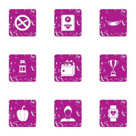 Stop life icons set. Grunge set of 9 stop life vector icons for web isolated on white background