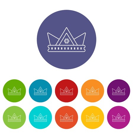 Diamond crown icons color set vector for any web design on white background
