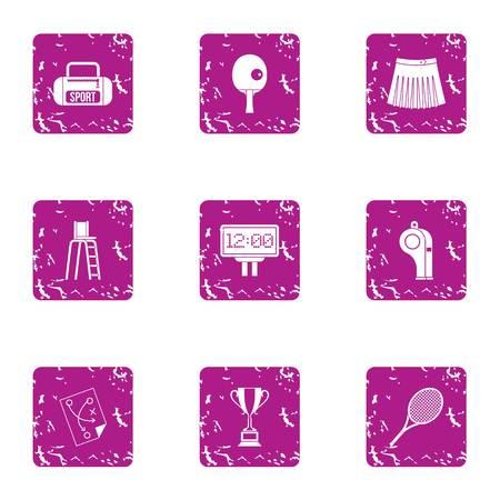Frolic sport icons set. Grunge set of 9 frolic sport vector icons for web isolated on white background Illustration