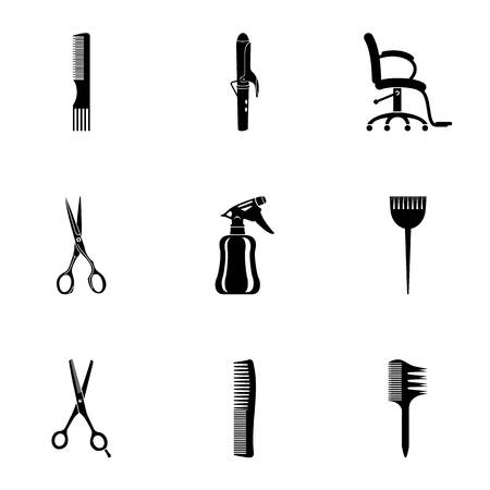 Haircut icons set. Simple set of 9 haircut vector icons for web isolated on white background