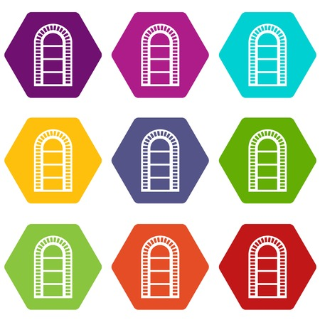 Narrow window frame icons 9 set coloful isolated on white for web