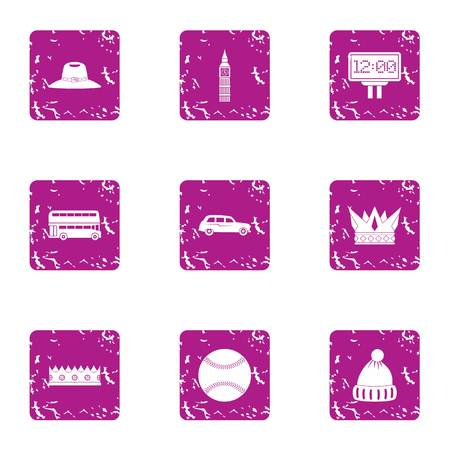 Street walkabout icons set. Grunge set of 9 street walkabout vector icons for web isolated on white background