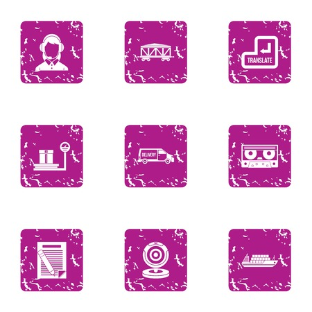 Request cargo icons set. Grunge set of 9 request cargo vector icons for web isolated on white background