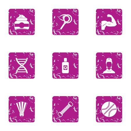 Physical readiness icons set. Grunge set of 9 physical readiness vector icons for web isolated on white background