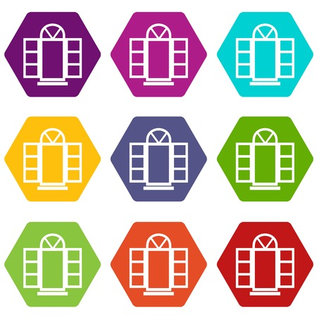 Open narrow window frame icons 9 set coloful isolated on white for web