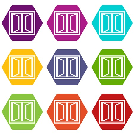 Plastic window frame icons 9 set coloful isolated on white for web