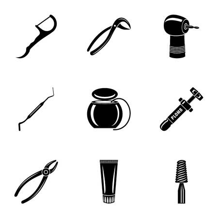 Metal tool icons set. Simple set of 9 metal tool vector icons for web isolated on white background