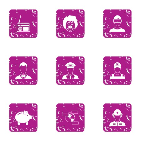 Executive icons set. Grunge set of 9 executive vector icons for web isolated on white background