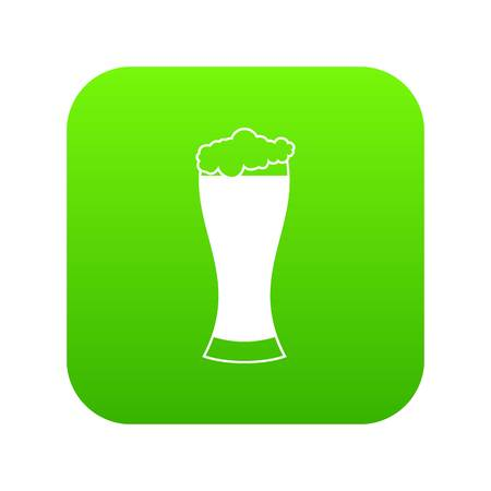 Glass of beer icon digital green for any design isolated on white vector illustration