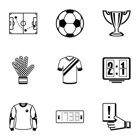 Football tool icons set. Simple set of 9 football tool vector icons for web isolated on white background Illusztráció