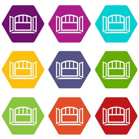 Open semicircular window frame icons set 9 vector  イラスト・ベクター素材